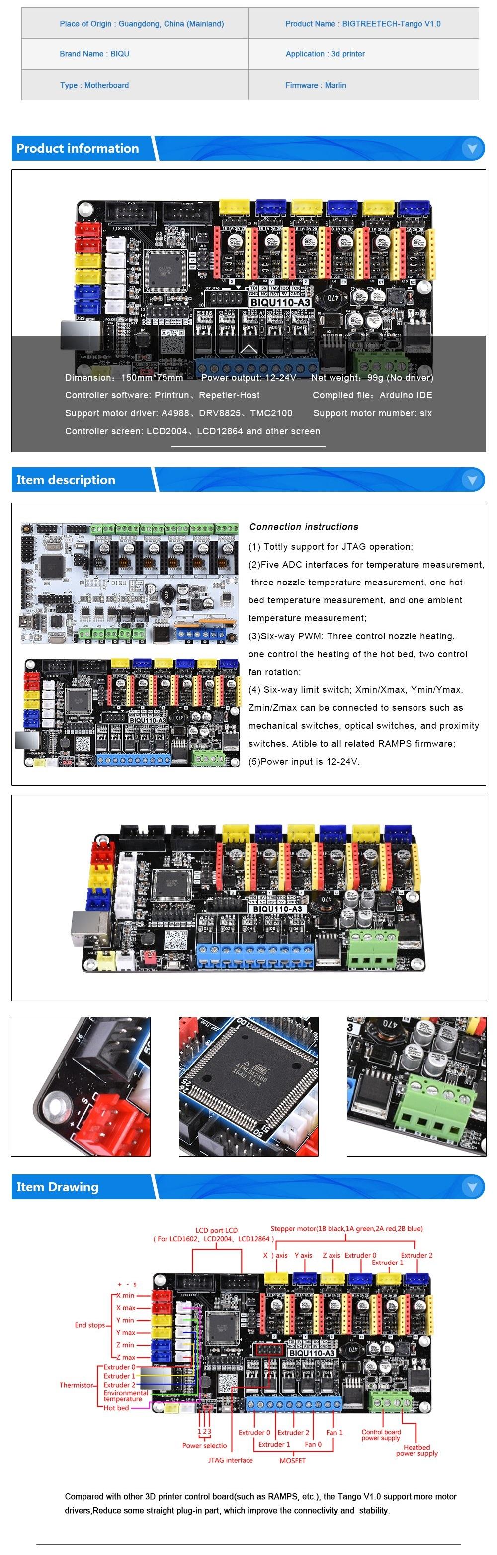 Control Board For 3D printer Tango V1 0