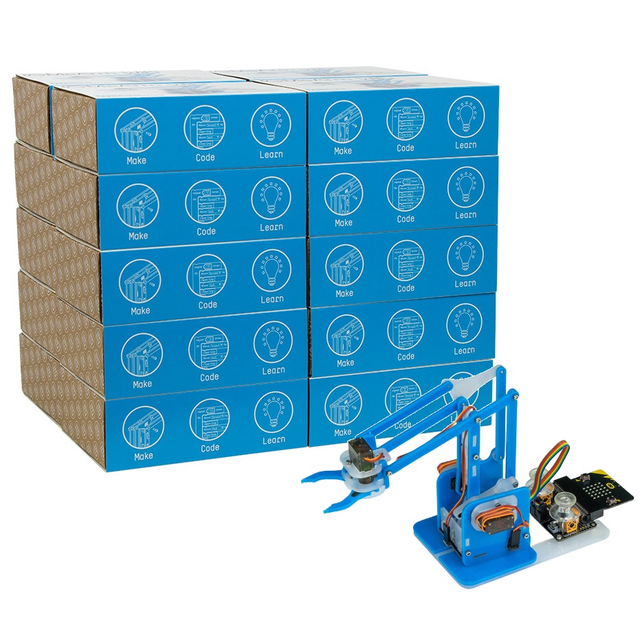 MeArm Robot for BBC micro:bit - Blue 20 Student Classroom Pack