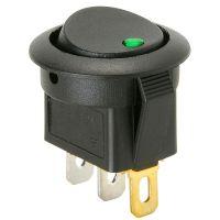 Rocker Switch - Round w/ Green LED