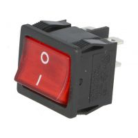 Rocker Switch ON-OFF DPST 6A/250VAC - with NEON LAMP