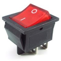 Rocker Switch ON-OFF DPST 16A/250VAC Red