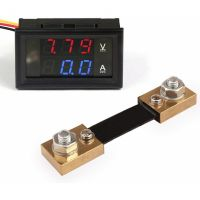 Panel Volt & Current Meter - 0-100V / 0-100A (with Shunt Resistor)