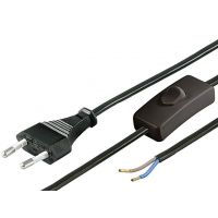 Cable Power AC Plug 2P to Wire with Switch - 2.5A 1.5m