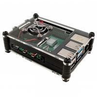 Case for Raspberry Pi 4 with Cooling Fan Black/Clear