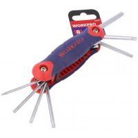 Torx Keys - Folding Set of 8 - TX9-TX40 - Workpro