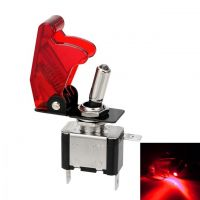 Toggle Switch with LED and Cover - Red 12V