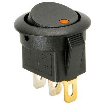 Rocker Switch - Round w/ Orange LED