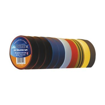 Insulation Tape PVC 19mm 20m - Pack of 10 Colors