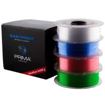 EasyPrint PETG Value Pack - 1.75mm - 4x500g - Clear, Rose, Light Blue, Green