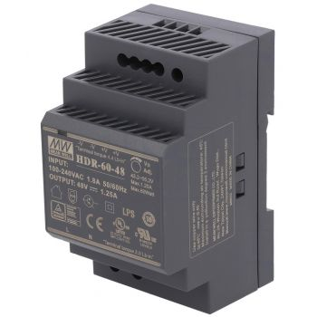 Din Power Supply 48V 1.25A MeanWell - HDR-60-48