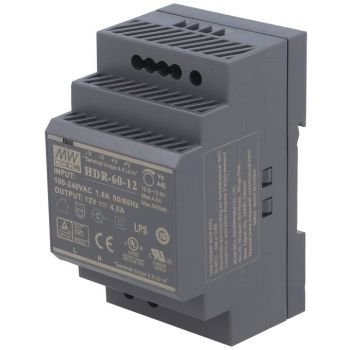 Din Power Supply 12V 4.5A MeanWell - HDR-60-12