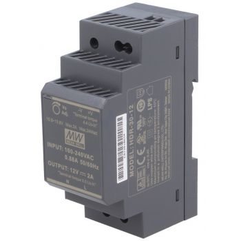 Din Power Supply 12V 2A MeanWell - HDR-30-12