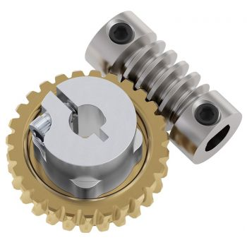 "Worm Gear Set 27:1 (6mm to 1/4"" Bore Worm, Hub Mount Worm Gear)"