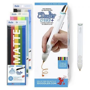 3D Pen 3Doodler Create+ with 75 Strands - Arctic White