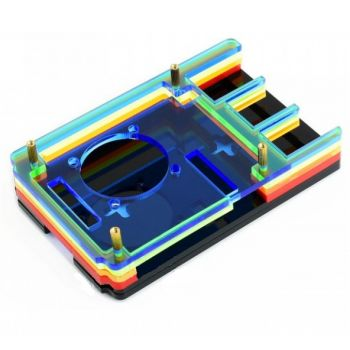 Waveshare Case for Raspberry Pi 4 with Cooling Fan Rainbow