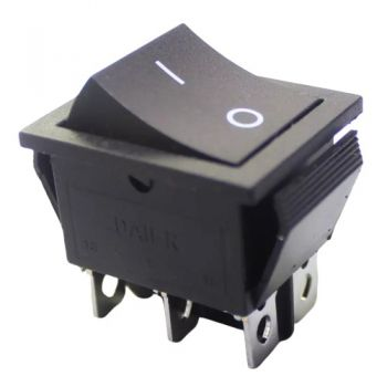 Rocker Switch ON-ON DPDT 15A/250VAC - Medium Black