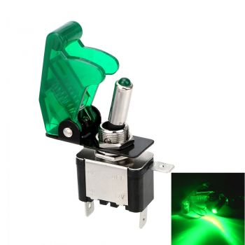 Toggle Switch with LED and Cover - Green 12V