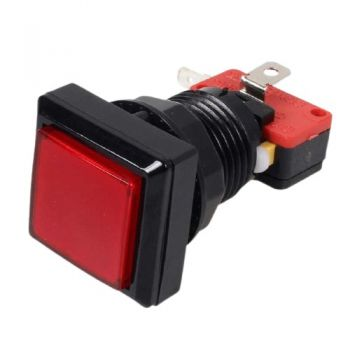 Arcade Push Button Square Illuminated - Red 33x33mm