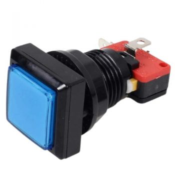 Arcade Push Button Square Illuminated - Blue 33x33mm