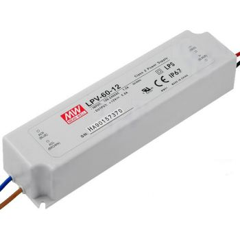 Power Supply Led 12V 5A 60W IP67 MeanWell - LPV-60-12